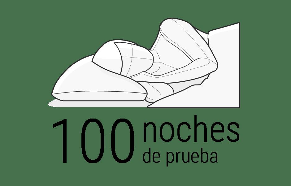 Ilustración: la parte superior del cuerpo de una persona se encuentra en una posición lateral en la cama, de cara al observador. Debajo: 100 noches de prueba.