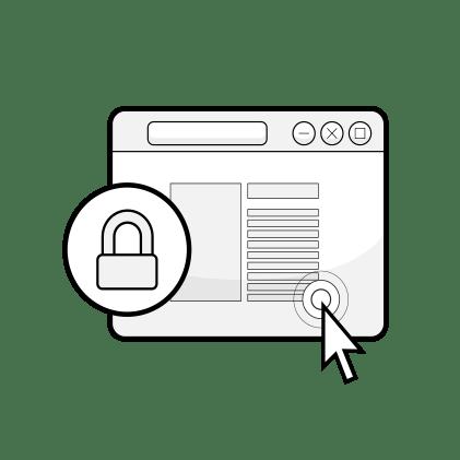 Ilustración: una ventana del navegador con un candado