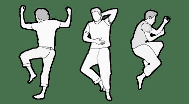 Ilustración: tres personas acostadas una al lado de la otra. La primera en posición prona, la segunda en posición supina, la tercera en posición lateral.