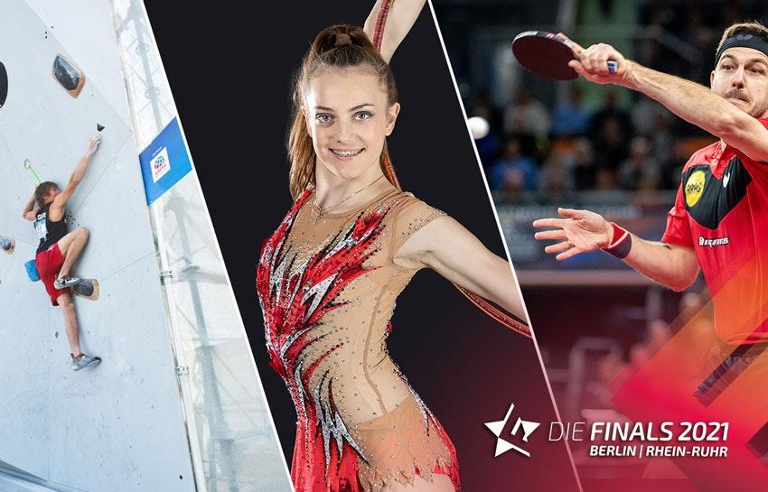 Collage fotográfico: a la izquierda un hombre en un muro de escalada, en el centro una mujer con un traje de gimnasia rítmica, a la derecha una jugadora de tenis de mesa.