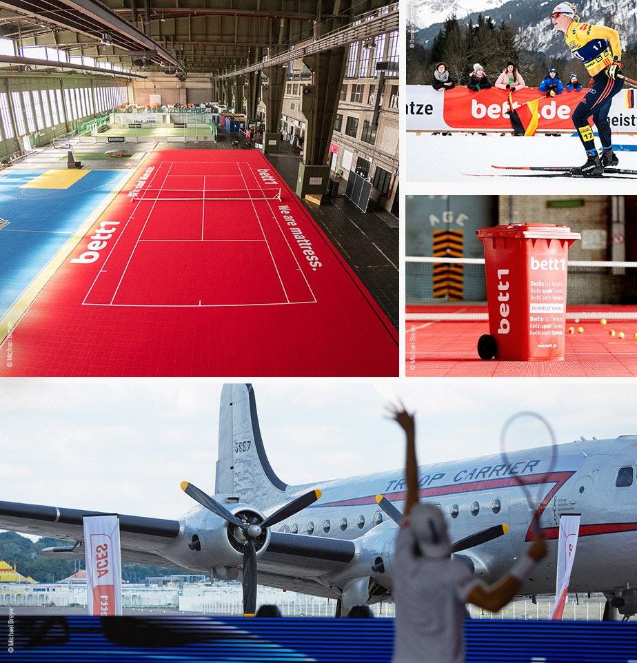 Collage de fotos: Se pueden ver varios jugadores de tenis, las fechas de los dos torneos y los logotipos de bett1HULKS y ATP.
