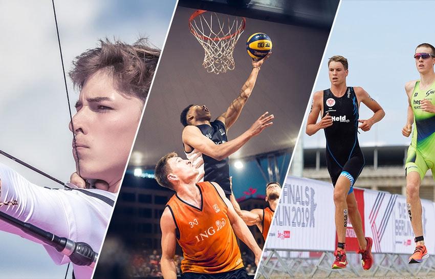 Collage de fotos: un arquero a la izquierda, tres jugadores de baloncesto en el centro, dos corredores a la derecha.