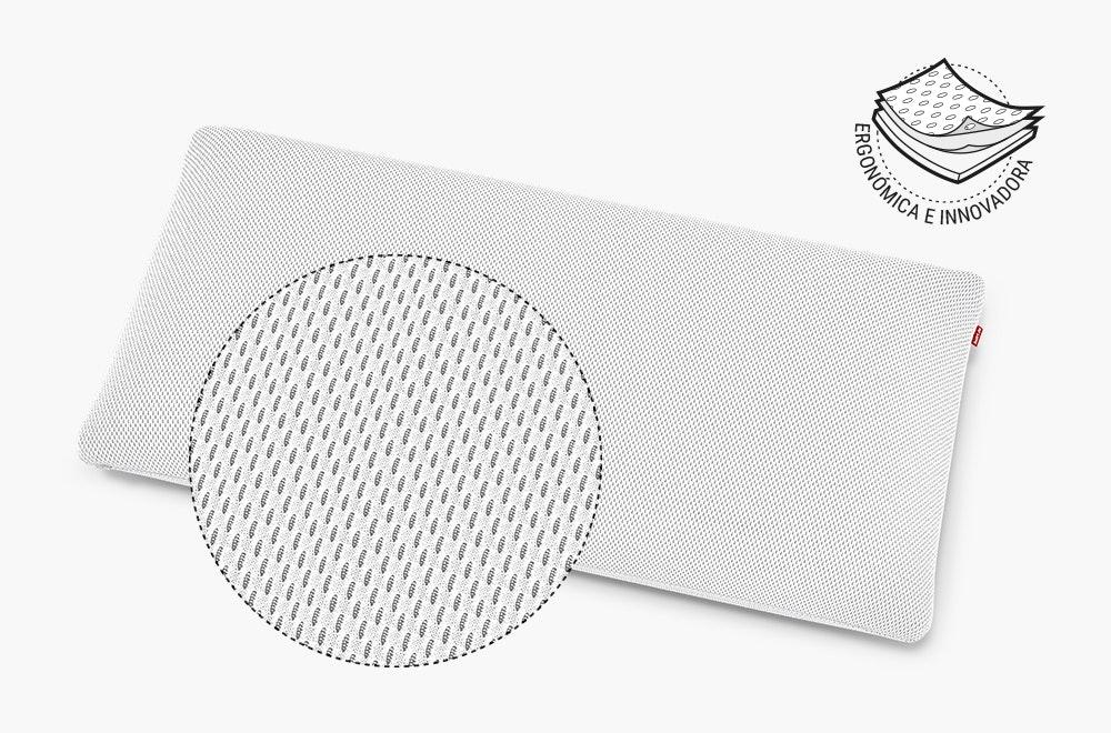 La almohada BODYGUARD Plus con vista ampliada que muestra la textura de la funda funcional HyBreeze. Al lado: ergonómica e innovadora.